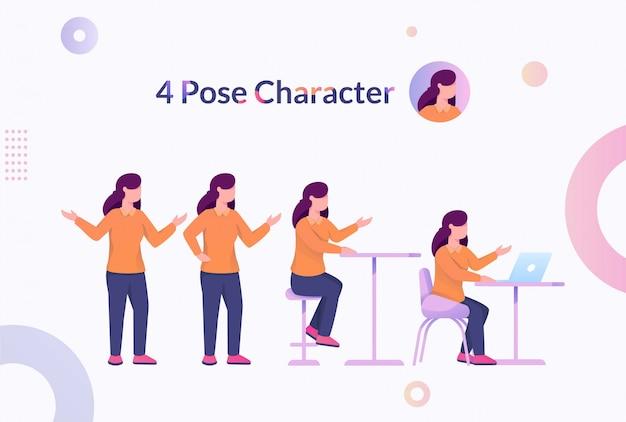 4 позы персонаж женщина иллюстрация Premium векторы
