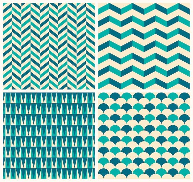 ビンテージパターンコレクション。幾何学的なモチーフを持つ4つのシームレスパターンのセット Premiumベクター