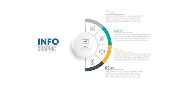 Инфографики элемент с иконками и 4 варианта или шаги. Premium векторы