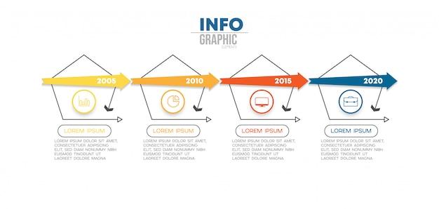 アイコンと4つのオプションまたは手順を持つインフォグラフィック要素。 Premiumベクター
