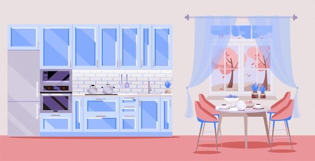 青いキッチンキッチンアクセサリーとピンクの背景に設定:冷蔵庫、オーブン、電子レンジ。窓際の椅子4脚付きのダイニングテーブル。 Premiumベクター