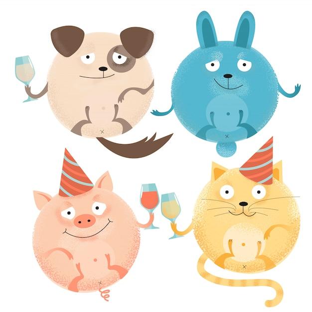 Набор из 4 веселых круглых животных на праздник с бокалами в праздничных шапках. счастливая улыбающаяся собака, кролик, кошка, свинья. Premium векторы