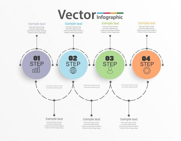 インフォグラフィックデザインテンプレート、4つのステップまたはオプションの概要コンセプト Premiumベクター