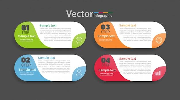 4つのオプション、ワークフロー、プロセスチャートを持つベクターインフォグラフィックテンプレート。 Premiumベクター