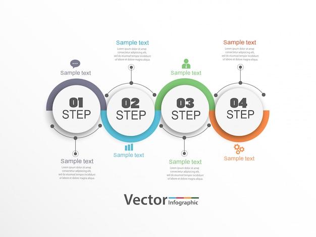 4つのオプション、ステップ、またはプロセスを備えたインフォグラフィックデザイン。 Premiumベクター