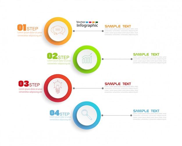 Шаблон оформления инфографики с 4 шагами Premium векторы