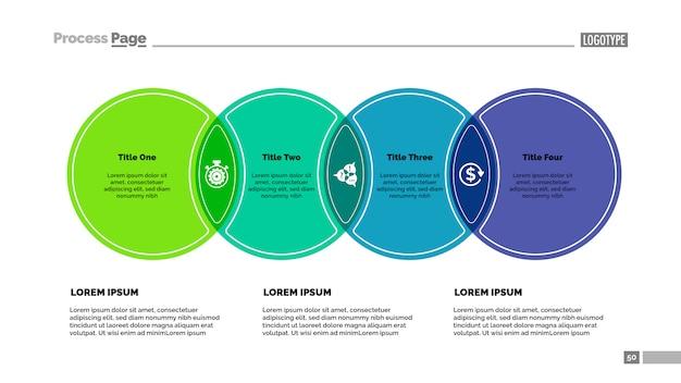 4つの円のプロセスチャートテンプレート。ビジネスデータ。 無料ベクター