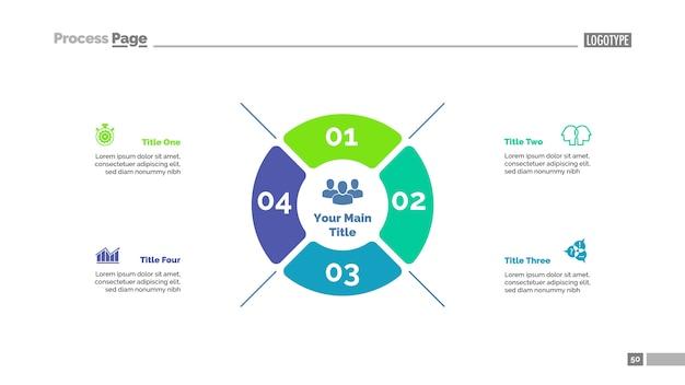 4つのオプションの戦略プロセスチャートテンプレート。ビジネスデータ。 無料ベクター