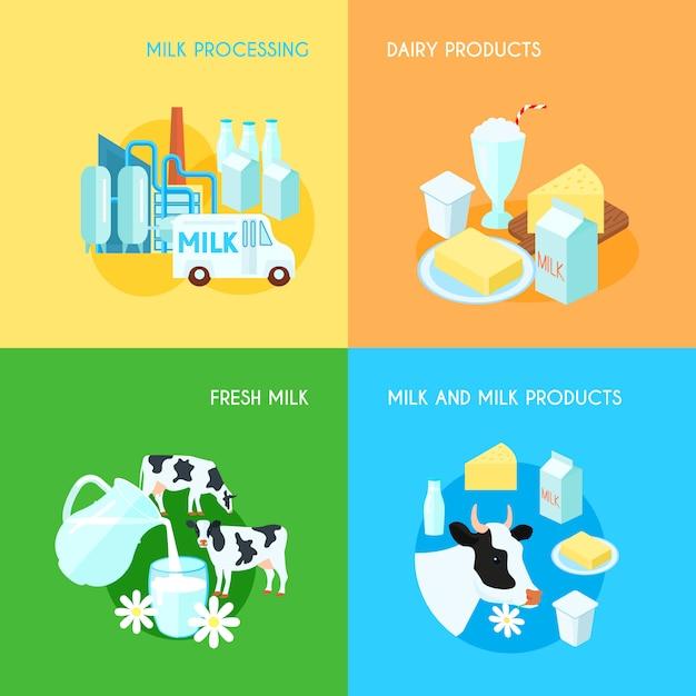 Переработка и транспортировка свежих молочных молочных продуктов 4 плоских иконы квадратная композиция Бесплатные векторы