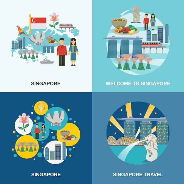 シンガポール文化4フラットアイコン組成 無料ベクター