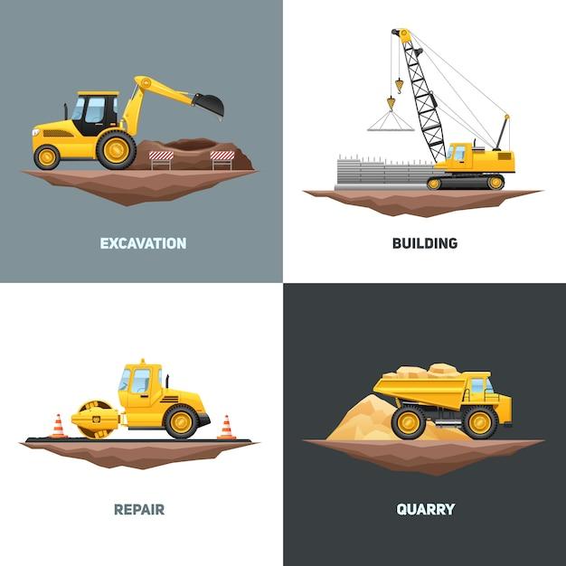 黄色いクレーン掘削機と建築建設機械4フラットアイコンデザイン 無料ベクター