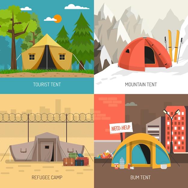 キャンプテントコンセプト4アイコンの正方形構成 無料ベクター