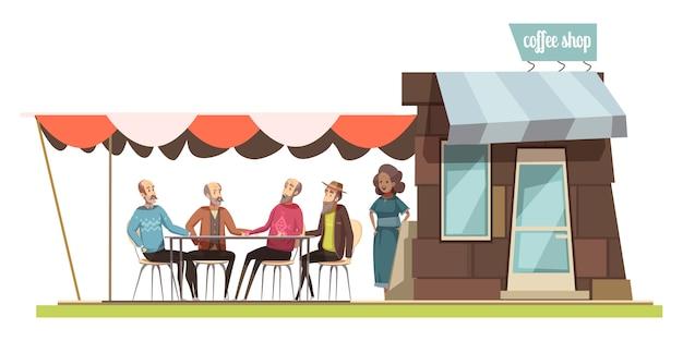 若い女性の漫画の置物とレジャーベクトル図で話している4人の高齢男性のコーヒーショップデザイン組成の家族 無料ベクター