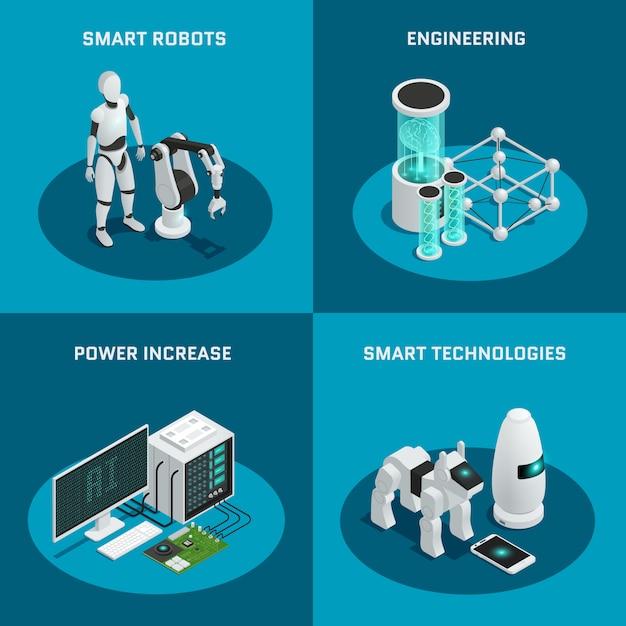スマートロボットの力で設定された4つの正方形の人工知能アイコンは、エンジニアリングスマート技術を向上させます 無料ベクター