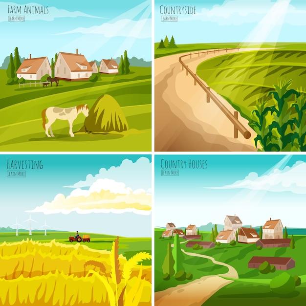 Сельская местность 4 плоские пиктограммы площадь композиция Бесплатные векторы