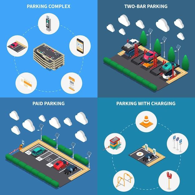 駐車場施設コンセプト4等尺性組成物アイコン正方形の屋台マルチレベルの複雑な充電 無料ベクター