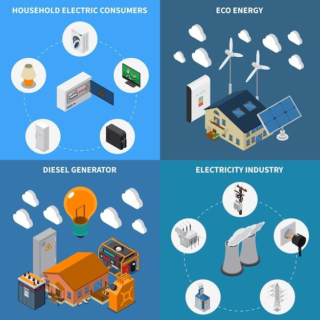 Электроэнергия для бытового потребления, поставка экологически чистой и дизельной энергии, промышленные генераторы, концепция 4 изометрических состава Бесплатные векторы