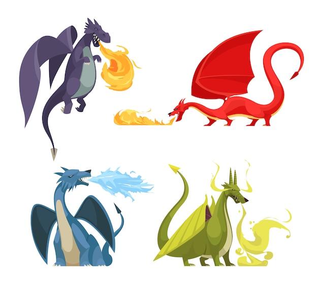 Смешные красочные огнедышащие драконы 4 иконки концепции с мультяшный фиолетовый красный зеленый синий монстров Бесплатные векторы