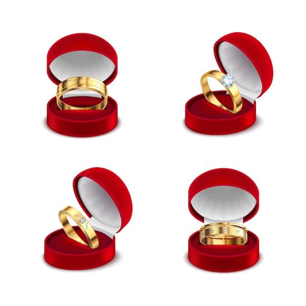 Свадебные обручальные золотые кольца в раскрытом красном футляре для шкатулки 4 реалистичные наборы на белом фоне иллюстрации Бесплатные векторы