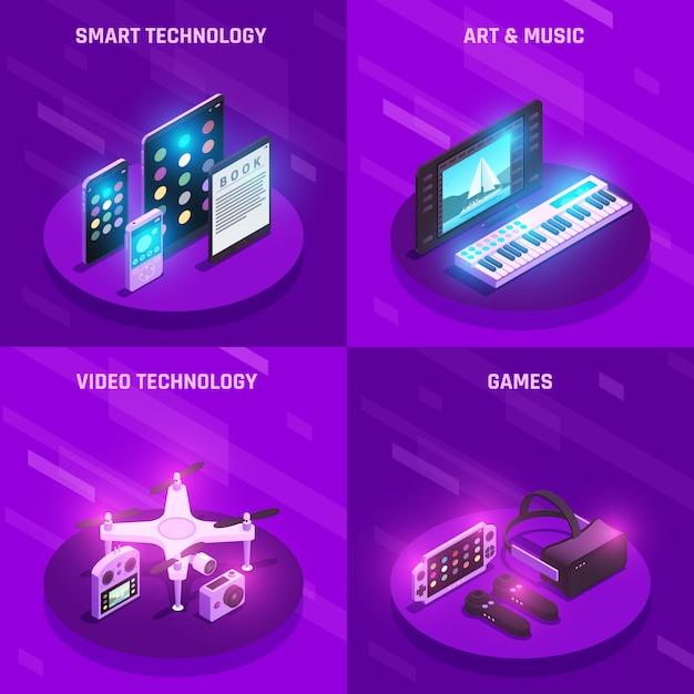 Умные электронные технологии, гаджеты, 4 изометрических иконки, композиции с ридерами, играми, музыкальными приборами, фиолетовые Бесплатные векторы