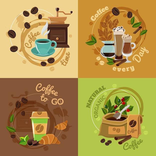 コーヒーの概念4フラットアイコンの正方形 無料ベクター