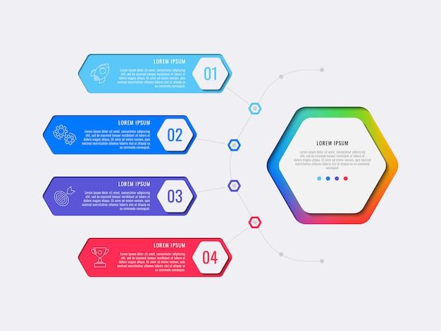 シンプルな4つのステップは、六角形の要素を持つレイアウトインフォグラフィックテンプレートを設計します。 Premiumベクター