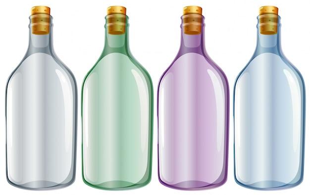白い背景に4つのガラス瓶のイラスト ベクター画像 無料ダウンロード