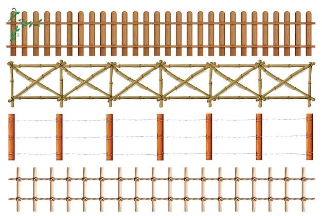 木製のフェンスのイラストの4つのデザイン 無料ベクター