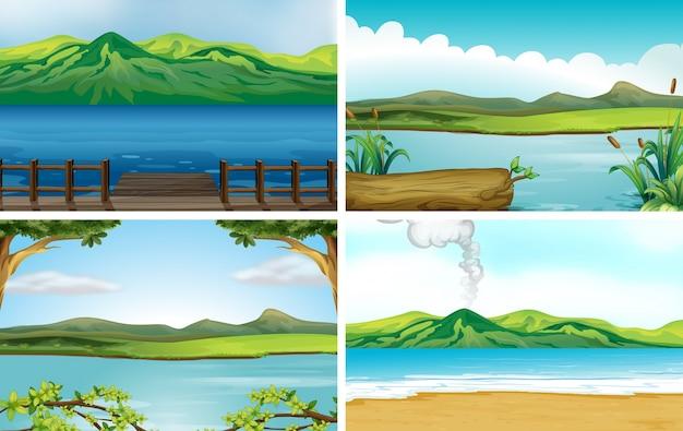 4つの異なる湖の風景のイラスト 無料ベクター
