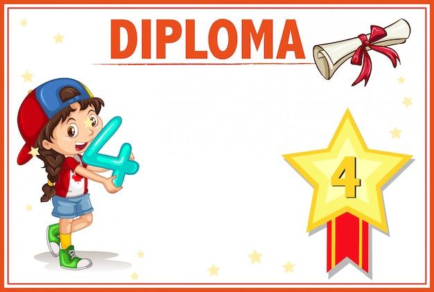 グレード4の卒業証書の証明書テンプレート 無料ベクター
