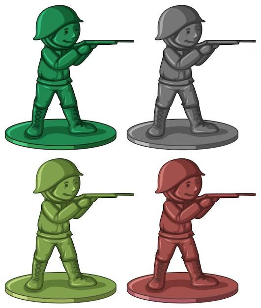 4色のプラスチック製の兵士のおもちゃ 無料ベクター
