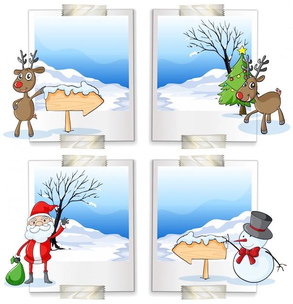 クリスマスをテーマにした4つの写真フレーム 無料ベクター