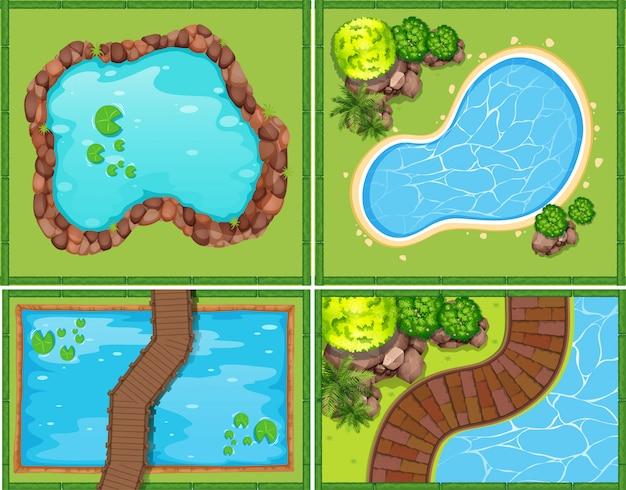 プールと池の4つのシーン 無料ベクター