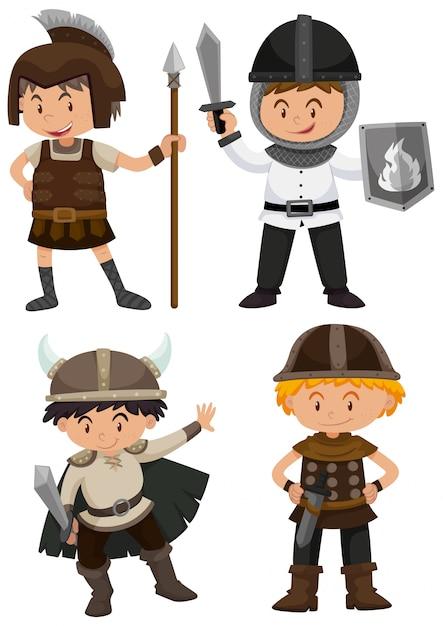 戦士の衣装で4人の子供 無料ベクター