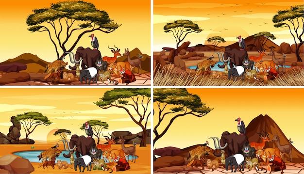 フィールドに動物がいる4つのシーン 無料ベクター