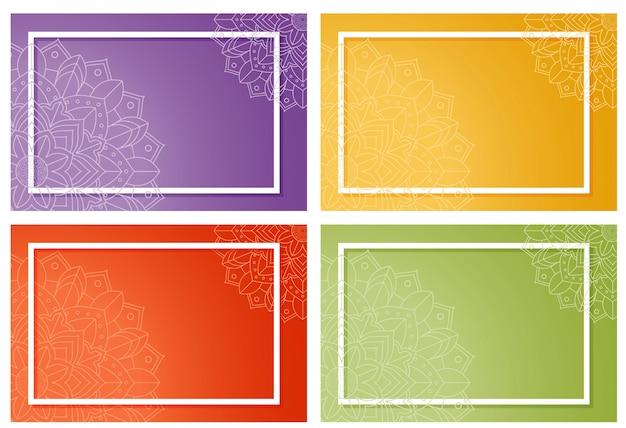 マンダラデザインの4つの背景 無料ベクター
