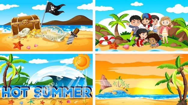 ビーチで夏の4つの背景シーン 無料ベクター