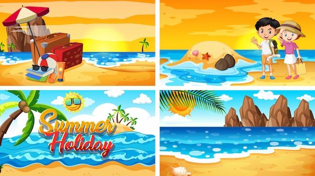 夏のビーチでの4つのシーン 無料ベクター
