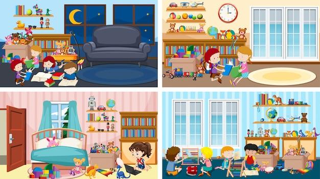 子どもたちがさまざまな部屋で遊んでいる4つのシーン 無料ベクター