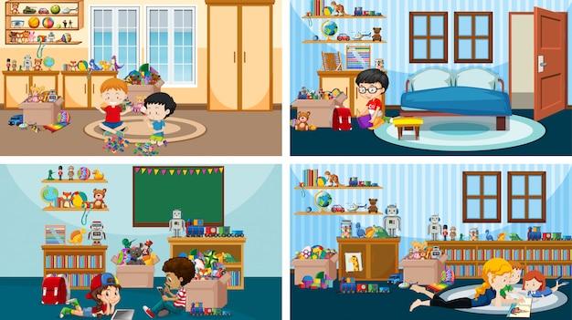 子供たちがさまざまな部屋で遊んだり読んだりする4つのシーン 無料ベクター
