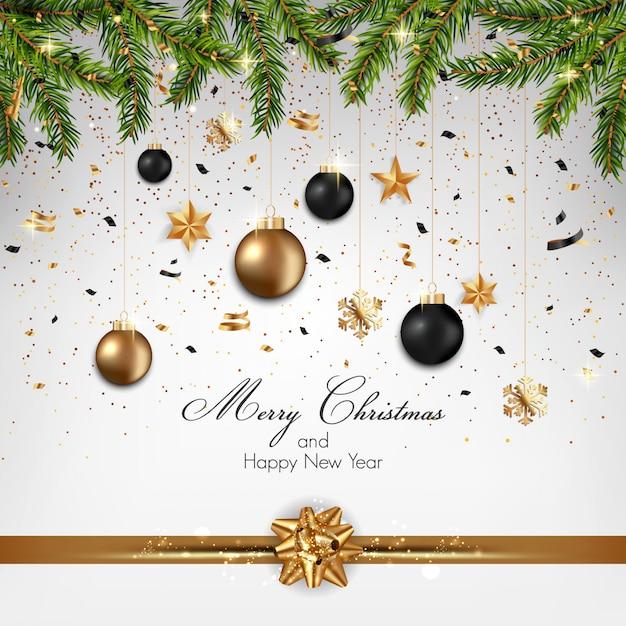 モミの小枝と装飾品4のクリスマスの背景 Premiumベクター