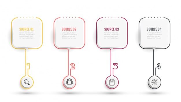 アイコンと正方形のビジネスインフォグラフィック細い線デザイン。 4つの番号オプションまたはステップを含むタイムライン。 Premiumベクター