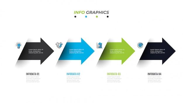 Инфографический шаблон бизнес-графика с 4 вариантами, шагами, стрелкой, значками, блок-схемой, презентацией, рабочим процессом или инфографикой процесса Premium векторы