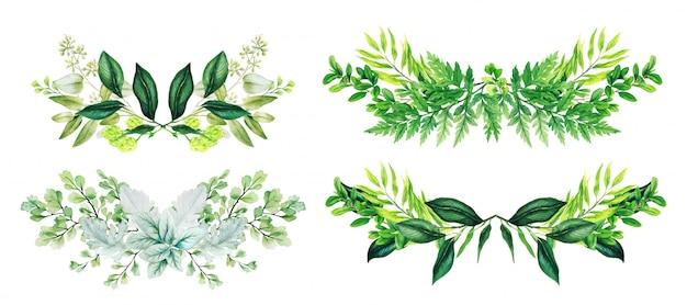 異なる葉とシダで構成される4対称花水彩アレンジメントのセット、手描き水彩イラスト Premiumベクター