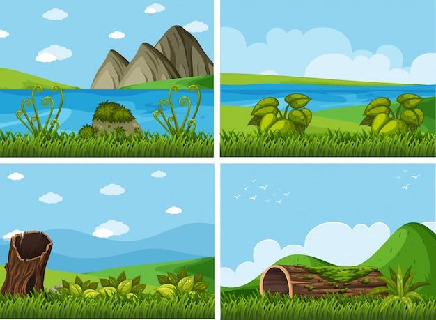 川と畑の4つの背景シーン Premiumベクター