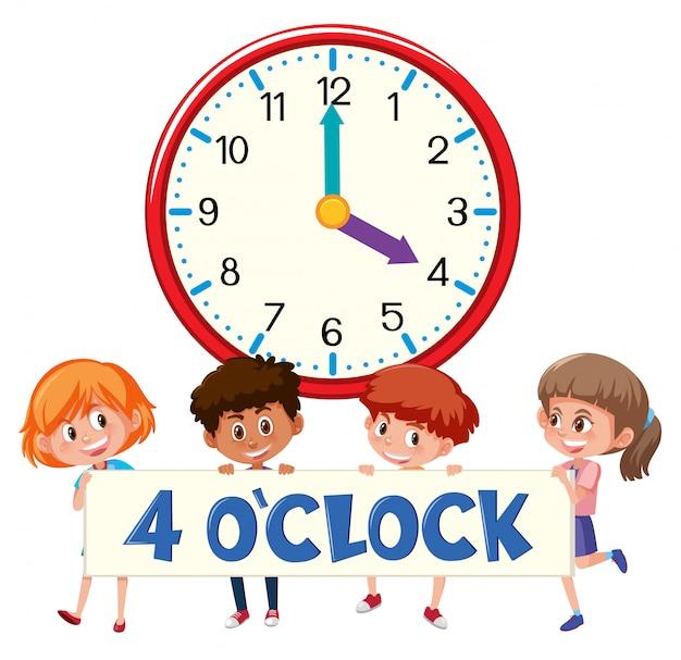 Дети и часы 4 часа Premium векторы