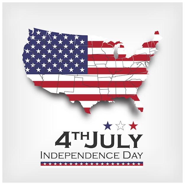 Карта америки и флаг. день независимости сша 4 июля. вектор Premium векторы