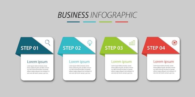 4ステップのインフォグラフィックデザインビジネス Premiumベクター