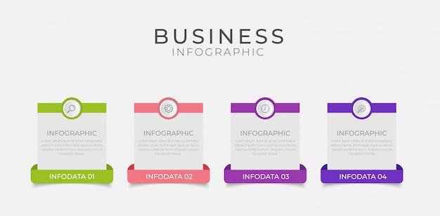 4つのオプション、手順、番号テンプレートデザインのビジネスインフォグラフィック要素 Premiumベクター