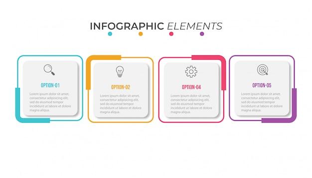 4つのオプションを持つプレゼンテーションビジネスインフォグラフィックテンプレート Premiumベクター